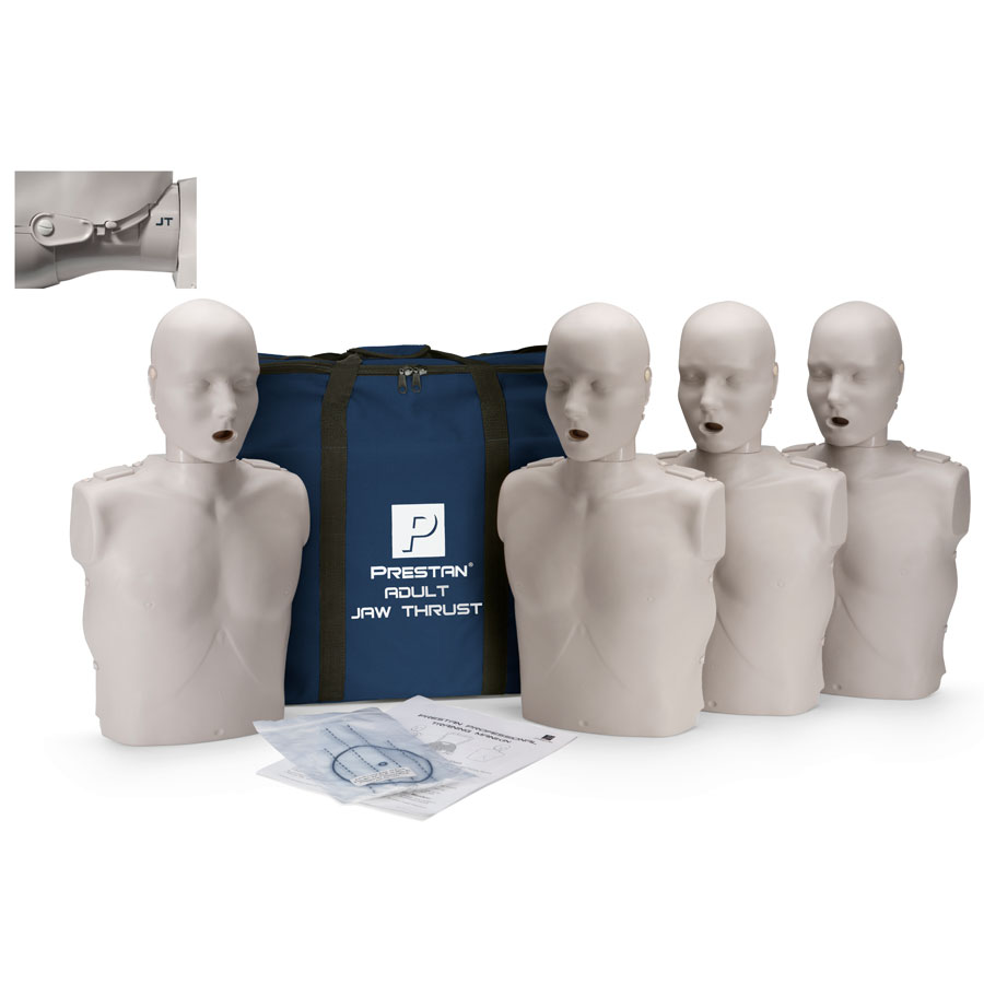 Prestan Adult Jaw Thrust CPR-AED Training Manikin without CPR Monitor - 4 Pack
