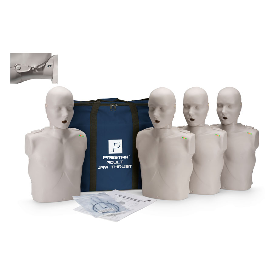 Prestan Adult Jaw Thrust CPR-AED Training Manikin with CPR Monitor - 4 Pack